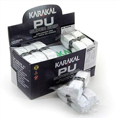 Karakal Super Grip - Cinta de agarre autoadhesiva de poliuretano para bádminton, squash, tenis, palos de hockey o bastones de esquí, paquete de 5 o 24 unidades, varios colores, Blanco, 6 unidades