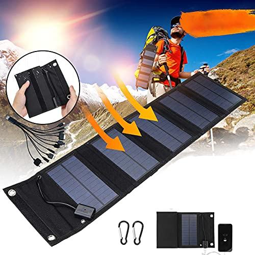 CHJAA Paneles solares de Carga rápida de 15W, portátil Plegable a Prueba de Agua, Banco de energía de Cargador de Panel Solar USB de 5V, para batería de teléfono