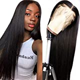 Lace Front Human Hair Wigs for Women Pre Plucked Hairline Bleached Knots 150% Density Brazilian Straight Lace Front Wigs with Baby Hair Natural Color (18', 13x4 Lace Front)