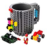 BOMENNE Build-on Brick Mug,Novelty Creative DIY building Blocks Puzzle Cups with 3 packs of Blocks,Unique Kids Party Fun mug For ALL Festival and Christmas gifts,Compatible with Lego,Grey