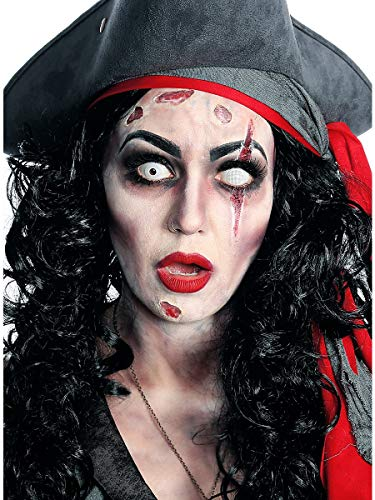 Hochwertiges Halloween Schminke Komplett-Set Zombie-Piratin mit perfekt abgestimmten Komponenten - Wunden Make-Up - Horrorhaut - Aqua Make-Up - Eye Shadow