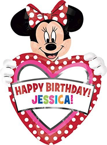 amscan 2636301 Folienballon SuperShape Minnie Maus Birthday Personalisierbar, Mehrfarbig