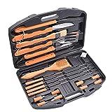 Miaow house 18 unids acero inoxidable barbacoa herramientas set camping al aire libre herramientas kit barbacoa parrilla utensilios accesorios con caja de almacenamiento