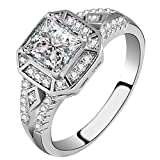 FENDINA Women's Vintage 1.5ct 18K White Gold Plated Princess Cut CZ Stone Anniversary Bridal Wedding Band Engagement Ring Promise Rings for Her (10)