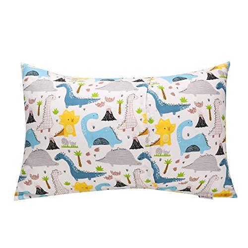 JISENキッド幼児枕カバー1パック100%ナチュラルコットン小さな枕カバー封筒付きで眠る用33x46cm Dinosaur2 1パック