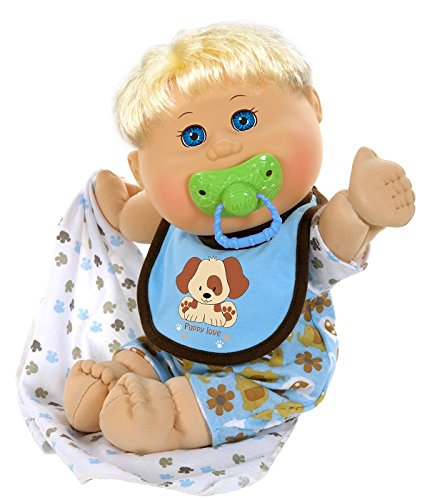 "Cabbage Patch Kids 12.5"" Naptime Babies - Blonde Hair/Blue Eye Boy Baby Doll (Dog Jumper Fashion)"