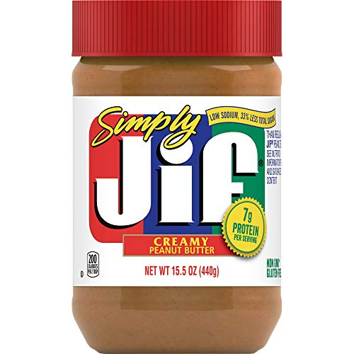 Simply Jif Creamy Peanut Butter 155 Ounces Pack of 12 7g 7% DV of Protein per Serving and 33% Less Sugar Than Regular Peanut Butter Smooth Creamy Texture No Stir Peanut Butter