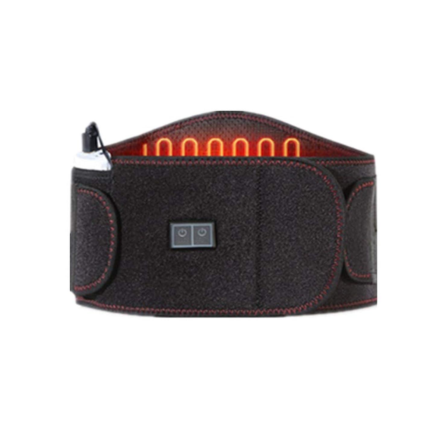 講堂ティッシュリーダーシップ加熱ウエストベルト、ブレースサポート加熱パッド腰部、腰椎痛緩和療法、周波数振動がタイトな筋肉を緩和する、暖かい理学療法USBパワーバンク