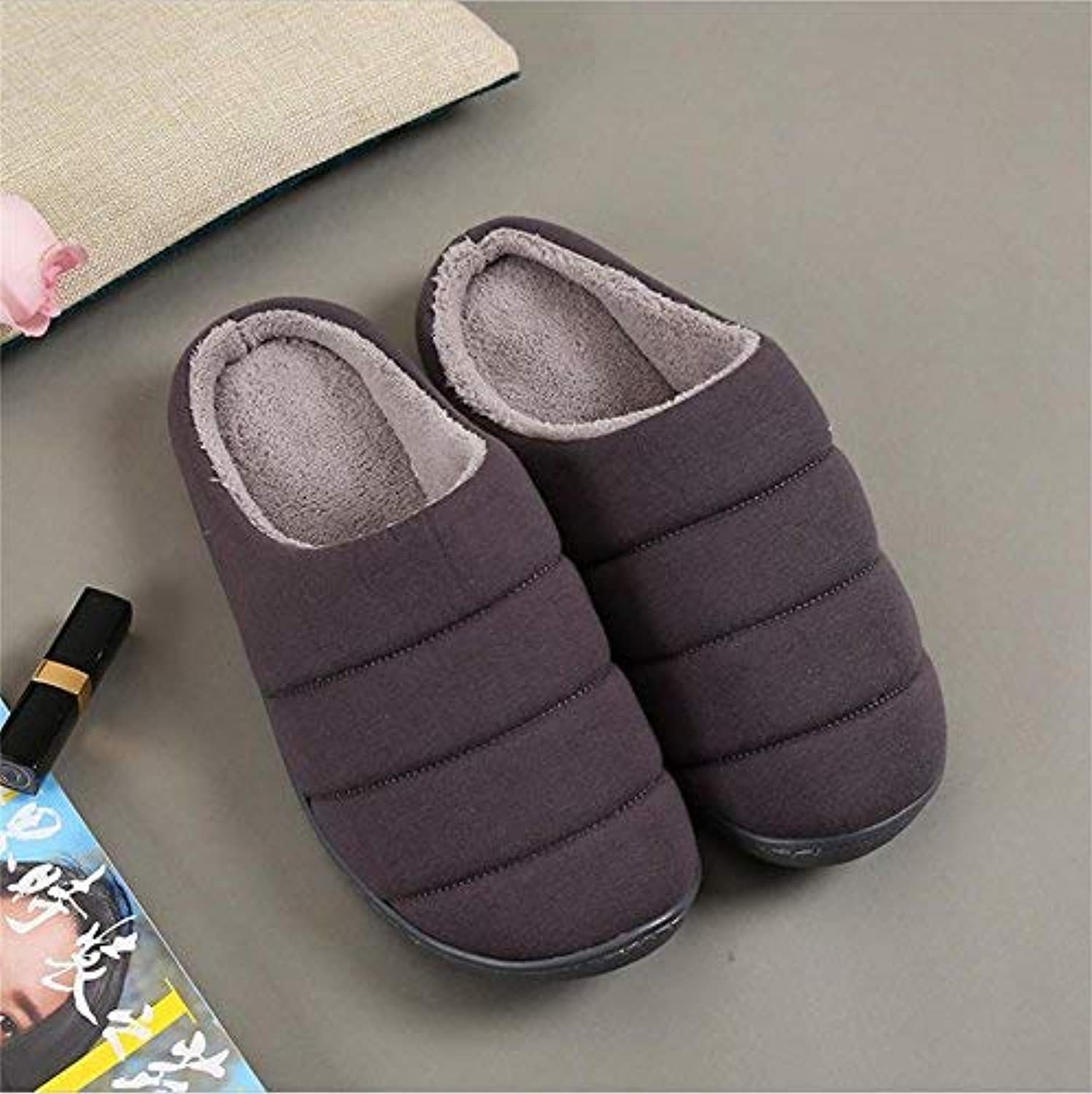GouuoHi Men Slipper Men's Fall and Winter Home shoes Thick Cotton Slippers Slip Keep Warm Indoor Bedroom Slippers for Men Pink