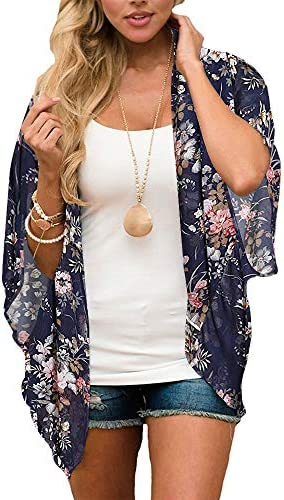 Kimono Cardigans for Women Floral Print 3 4 Sleeve Loose Cover Up Casual Blouse Tops Navy Blue product image