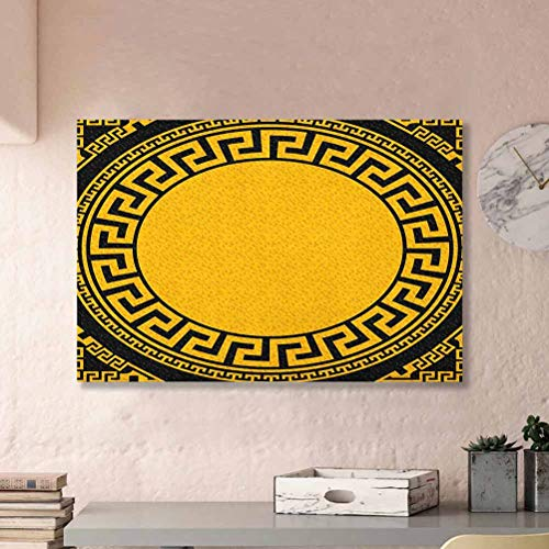 ParadiseDecor Greek Key Music Posters Sun Inspired Big Circle with Antique Fret and Triangular Ornaments Boyfriend Gifts Charcoal Grey Marigold L30 x H60 Inch