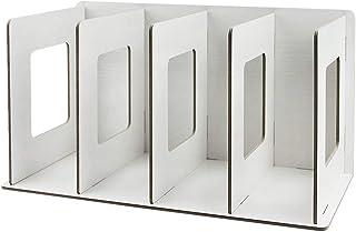 Heartyfly本立て ブック スタンド DIY 木製 組立て式 4段 ファイルボックス ファイル収納 レターケース ドキュメントスタンド 書類入れ 収納ボックス デクス上本棚 雑誌 新聞 資料 片付け 文房具 オフィス 大容量 (ホワイト)