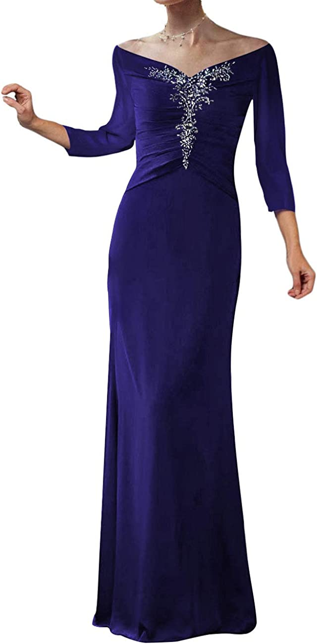 Mother of The Bride Dresses Long Evening Formal Dress Beaded Pleated 3/4 Sleeve Womens