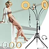 Ring Light with Tripod Stand and Phone Holder, Dual 8'' Selfie Circle Light for Laptop Video Conferencing Computer Video Recording Studio Zoom Meeting Call Live Streaming