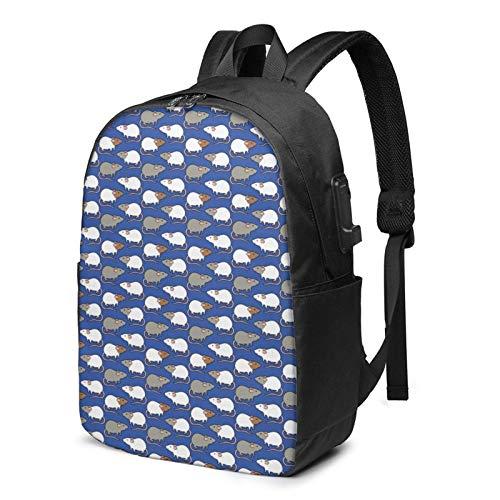 XCNGG Rat Cartoon Business Laptop School Bookbag Mochila de Viaje con Puerto de Carga USB y Puerto para Auriculares de 17 Pulgadas