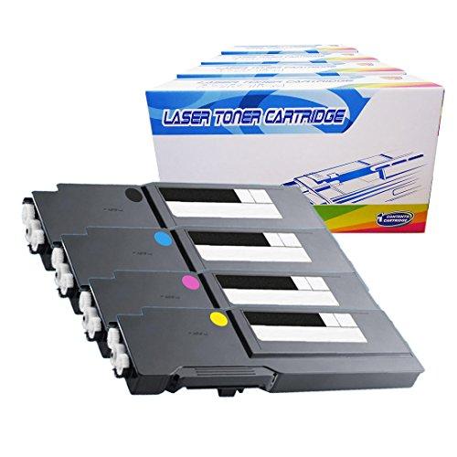 Inktoneram Compatible Toner Cartridges Replacement for Dell C3760n C3760dn C3765dnf W8D60 1M4KP XKGFP MD8G4 Extra High Yield ([Black,Cyan,Magenta,Yellow], 4-Pack)