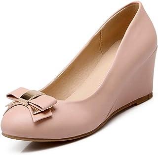 ラウンドトゥ ウェッジヒール パンプス レディース 靴 可愛いシューズ 小さいサイズ 痛くない 蝶結び 黒 ウェッジソール ラウンド ブルー ラウンド ウェッジ ウエッジヒール 歩きやすい ヒール ピンク ベージュ