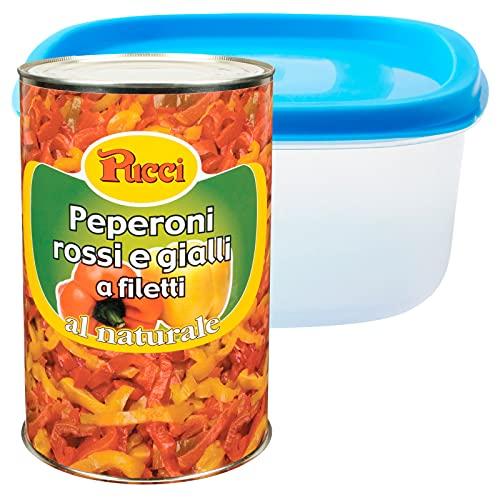 Pucci Peperoni Rossi e Gialli a Filetti al Naturale Conserva Condimento per Pizze Piatti di Carne o Pesce Latta da 4Kg + Contenitore Alimentare