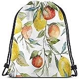 jenny-shop Sacs à Dos à Cordon imprimé Sacs, Citron et Orange Clémentine Branches d'arbre Fruits Délicieux Saison d'hiver Conception de vitamines