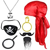 Beelittle Kids Pirate Costume Accessories Durag Long-Tail Pirate CapPirate Eye Patch Children Pirate Captain Dress Up Set for Halloween and Pirate Party (Red)