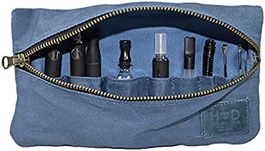 Hide & Drink, Waxed Canvas Vape Pen Accessories Kit Pouch Holder, Secure Fit, Cord Storage G Pen Soft Travel Bag Handmade :: Blue Mar (Accessories not Included)