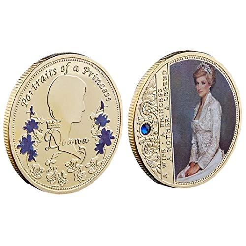 LAVALINK 1pc Prinzessin Diana Gedenkmünze Königin Souvenir Münzsammlung Geschenke Sammlermünzen Gold
