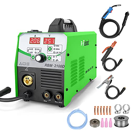 Reboot MIG Welder Flux Core Wire Automatic 110V/220V Digital MIG210 Lift Tig Arc Stick Mig Welding Machine Solid Wire Gas/Gasless Supports 2lbs/10lbs Wire