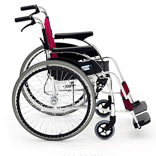 Yaeele a prueba de golpes Silla de rehabilitación médica, silla de ruedas, silla de ruedas plegable de peso ligero de conducción médica, Silla de ruedas Pequeña edad avanzada Carro Portátil ultraliger