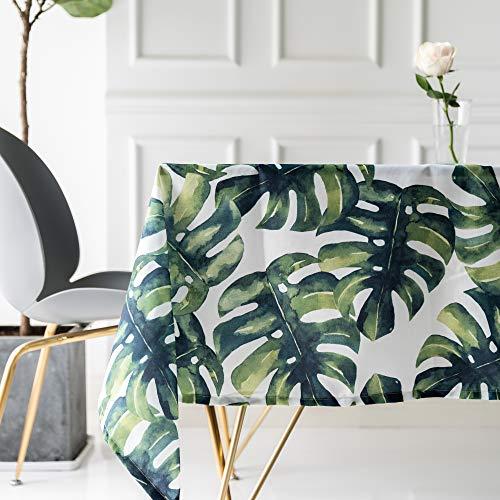 Drizzle Mantel para Mesa de Cocina o Salon Monstera Plantas Verdes Hojas de Palma Rectangular Impermeable Lavable Diseno de Comedor Decoracion del Hogar (55 * 99in/140 * 250cm)