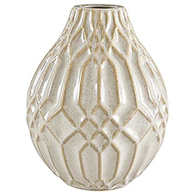 Amazon Brand – Stone & Beam Modern Decorative Ceramic Vase Decor With Geometric Pattern, 7.7 Inch Height, White