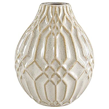 Stone & Beam Modern Ceramic Vase With Geometric Pattern, 7.7 H, White