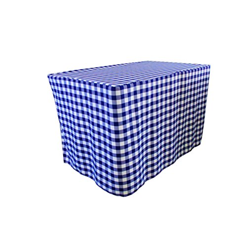 Save %24 Now! LA Linen TCcheck-fit-96x48x30-RoyalK50 Fitted Checkered Tablecloth44; White & Royal Bl...