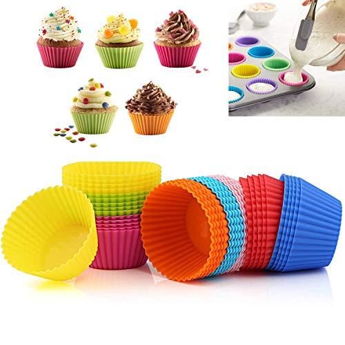 24 Stück Kuchenform, Wiederverwendbare Silikon-Backform Muffinform Kuchen Rainbow Cup Ice Cream Pudding