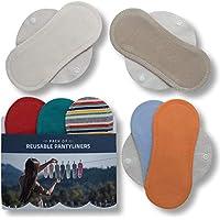 Salvaslips de tela reutilizables, 7-Pack Protege Slips de algodón ORGÁNICO con alas HECHAS EN LA UE, Compresas Bio sin PUL, Toallas Sanitarias para el uso diario y flujo blanco, NO para menstruación