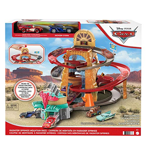 Disney and Pixar's Cars Radiator Springs Mountain Race Playset, Complete Racing Play with Two Vehicles, Gift for Cars Fans Ages 4 Years and Older