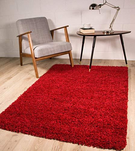 The Rug House Tapis de Luxe à Poils Longs - Doux et épais - Couleur vin - 9 Tailles Disponibles, Rouge vin, 80 x 150 cm