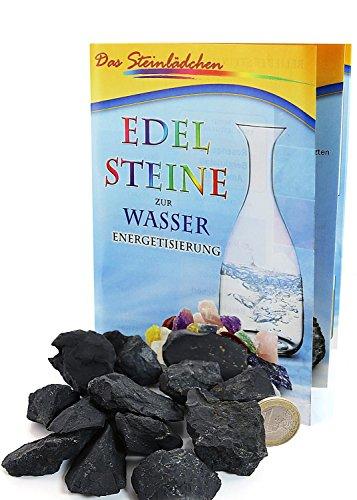 Schungit Rohsteine, 200 g, Wassersteine, Shungit Wasserenergetisierung, inklusive einer Broschüre zum Umgang mit Wassersteinen