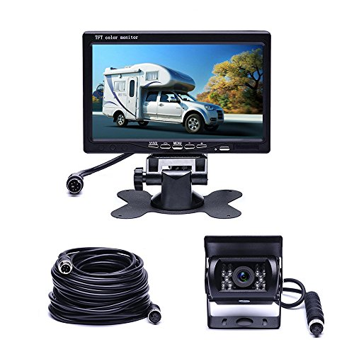 Camecho Vehicle Backup Camera 7' TFT Monitor,18 IR Night Vision Rear View Camera Without Gride Line IP 68 Waterproof, 4 Pins Aviation Extension Cable for 33FT Length RVs, Bus, Trailer,Truck
