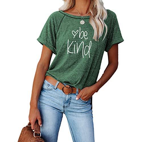 DREAMING-Tops de Mujer de Primavera y Verano, Jerseys Casuales, Camisetas de Manga Corta Sueltas con Cuello Redondo y Abertura en Bloque S