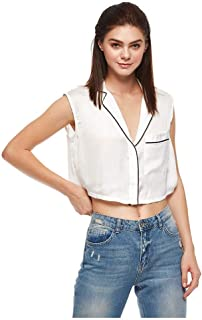 Bershka Crop Tops For Women, White, Size L