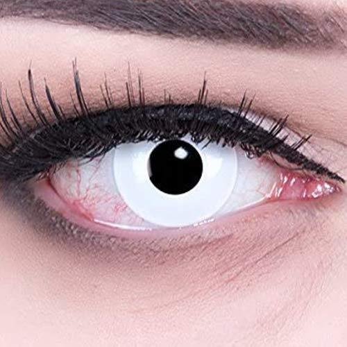 """Farbige weiße Crazy Fun Kontaktlinsen\""""White Out\"""" \'Zombie\' mit gratis Linsenbehälter Topqualität zu Fasching, Karneval und Halloween ohne Stärke"""