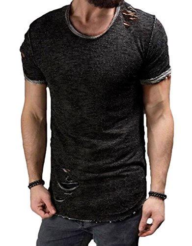 Men's Short Sleeve Crew Neck Slim Fit Fitness T-Shirt Tops with Ripped Holes (Black, US-XL)