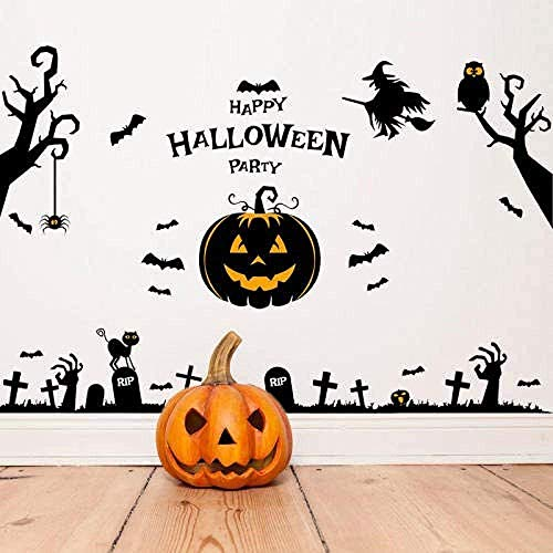 Halloween Feestmuur Sticker voor Kinderkamer Woonkamer Slaapkamer Muursticker Huisdecoratie Uil Kat Heks Behang Poster