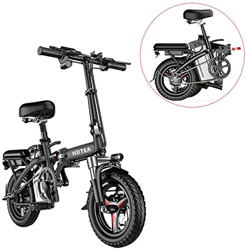 Folding Electric Bike, City Commuter Ebike Electric Bicycle/Electric Mountain Bike,with LCD Display Suitable for Adults and Teenagers 14 Inch 250W (Black)