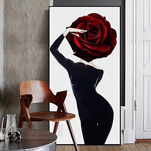 PSpXU Arte Mujer con Vestido Negro Carteles Lienzo Pintura Arte de la Pared para Sala de Estar Dormitorio decoración Moderna-Sin marco-60X120cm
