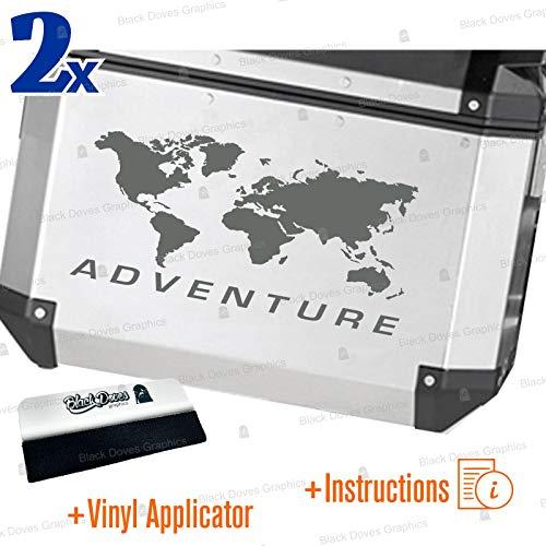 2 pegatinas World Adventure universales para varios tipos de maletas (gris)