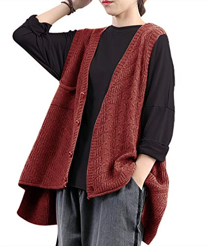 YESNO Women Casual Loose Plain Button Down Knitted Sweater Vest Curved Hemline Sleeveless Cardigan/Pockets 2XL LG7 Rust