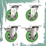 Mlxy Rueda giratoria de Goma, Ruedas industriales, Acero Inoxidable 304, 3/4/5 in, sin Ruido, Ruedas de Servicio Pesado, Adecuado para carros pequeños