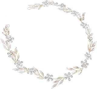 Novia de pelo Vines Cristales Boda Tocados Headwear Accesorio para el cabello para bodas Fiesta de noche (Oro)