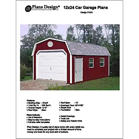 How To Build Guide 12/' x 24/' Shed Plans Design #D1224G Material List Included